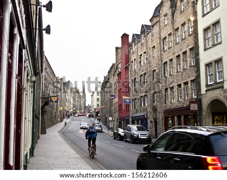 Royal Mile street in Edinburgh, - stock photo