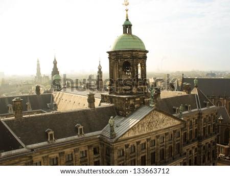 Royal Palace of Amsterdam  Top view (Paleis op de Dam) - stock photo