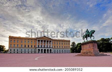 Royal Palace (Slottet) in Oslo, Norway - stock photo