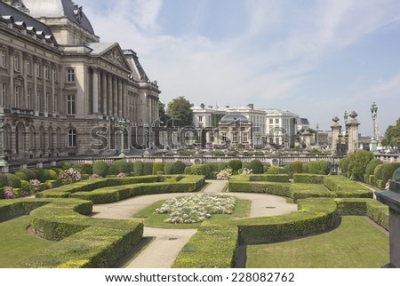 Royal Palace with garden in Brussels, Belgium