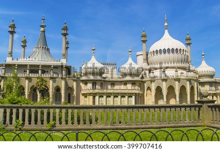 Royal Pavilion in Brighton in East Sussex of England. It is also called as Brighton Pavilion. It used to be a royal residence in the 18th century. - stock photo