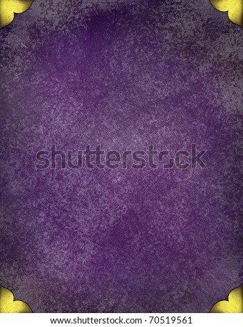 royal purple grunge background with gold corner accent designs, elegant faded old texture, and copy space to add your own text, title, or image - stock photo