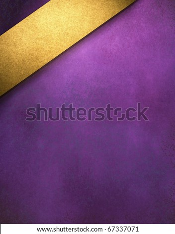 royal purple soft distressed background with graphic art design angled rich gold ribbon with copy space to add your text, title, or image - stock photo