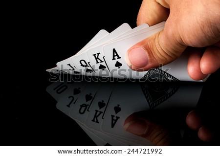 Royal Straight Flush , card game - stock photo