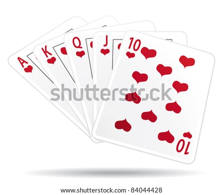 Royal straight flush playing cards.