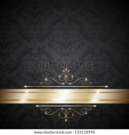 Royal template with ornate background and golden swirls  - raster version - stock photo
