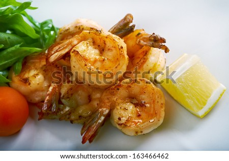Royal tiger shrimps.Chinese style