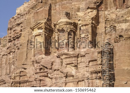 Royal tombs. The Monastery Petra in Jordan - largest monument, dates from the 1st century BC. - stock photo