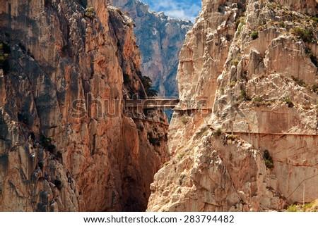 Royal Trail (El Caminito del Rey) in gorge Chorro, Malaga province, Spain - stock photo