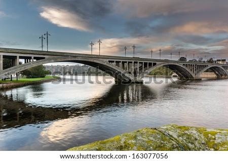 Royal Tweed Bridge / The Royal Tweed Bridge is the main road crossing between Berwick and Tweedmouth - stock photo