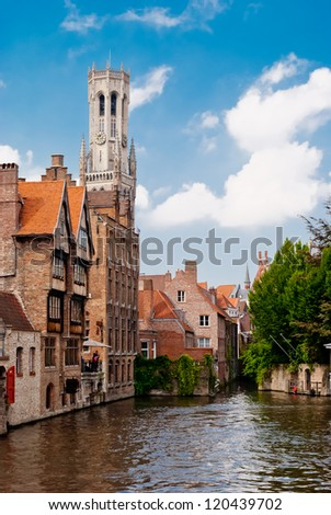 Rozenhoedkaai (Quai of the Rosary), and Belfry Tower, Bruges