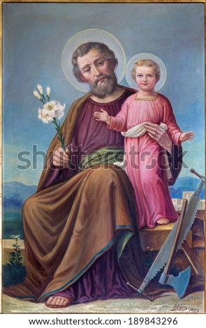 """ROZNAVA, SLOVAKIA - APRIL 19, 2014: Paint of St.Joseph from 19. cent. in the cathedral by """"Adum"""" (1907) - stock photo"""