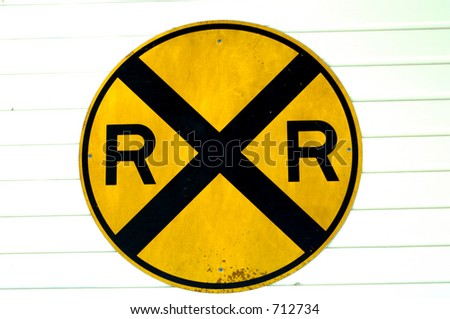RR crossing sign - stock photo