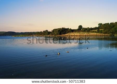 rreservoir lake at cardington in the peak district debyshire england uk - stock photo
