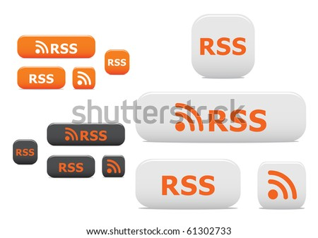 Rss buttons and symbols. Vector version also available in gallery - stock photo