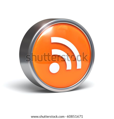 Rss - 3D button with clipping path - stock photo