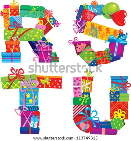 box letter alphabet rstu alphabet letters made gift stock illustration 52676