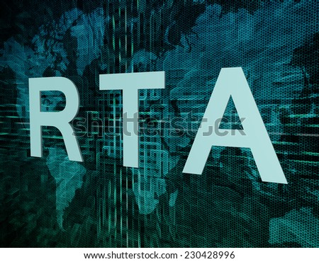 RTA - Real Time Advertising text concept on green digital world map background  - stock photo