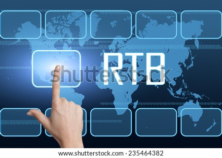 RTB - Real Time Bidding concept with interface and world map on blue background - stock photo