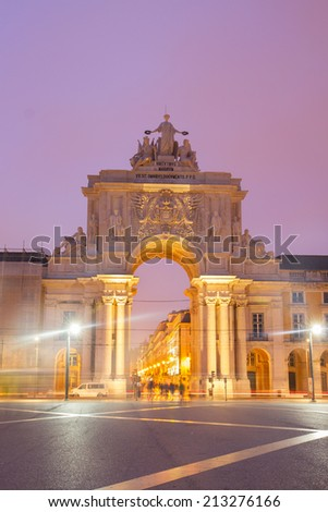 Rua Augusta Arch is a stone, triumphal arch-like, historical building and visitor attraction in Lisbon on Commerce Square. Portugal - stock photo