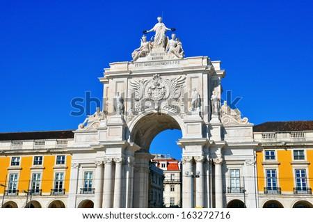 Rua Augusta's Triumphal Arch, Lisbon, Portugal - stock photo