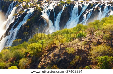 Ruacana Falls, border of Angola and Namibia - stock photo