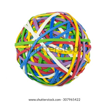 rubber ball out of many colorful elastic bands on white background - stock photo