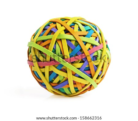Rubber band ball on white background - stock photo