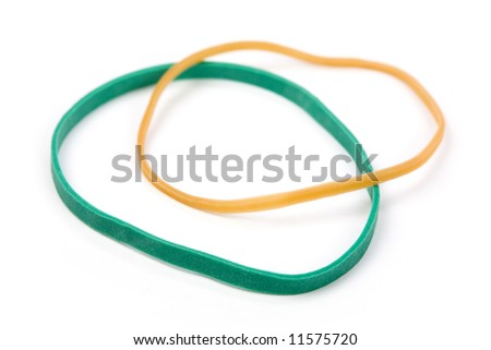 Rubber Band with white background - stock photo