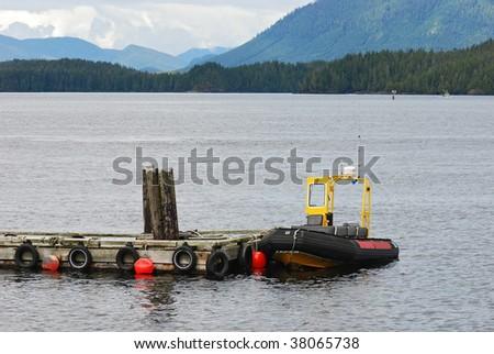 rubber boat - stock photo