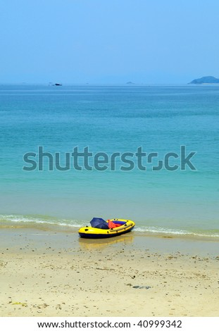 rubber boat on beautiful beach