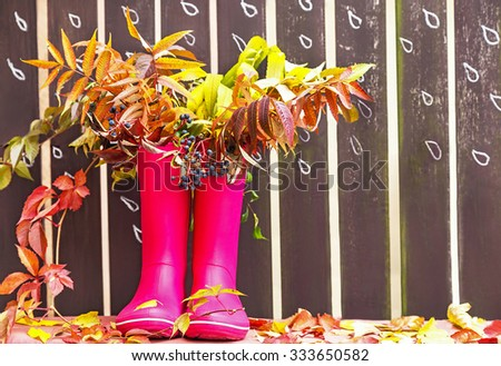 Rubber boots (rainboots) and autumnal leaves are on the wooden fence background with drawing rain drops. Autumn. Copy space for your text. Creative, activity, leisure, travel concept.  - stock photo