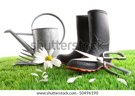 Rubber boots with watering can and daisy in grass