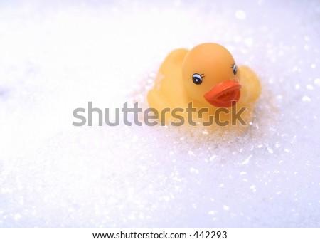 rubber duck in bubble bath - stock photo