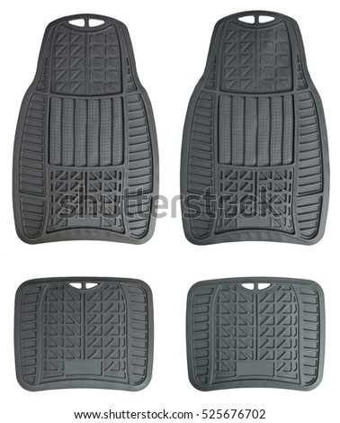 Rubber Floor Mat Set For Cars, Isolated On White Background