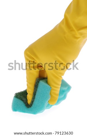 Rubber Glove and green Sponge on white. Clipping path included.