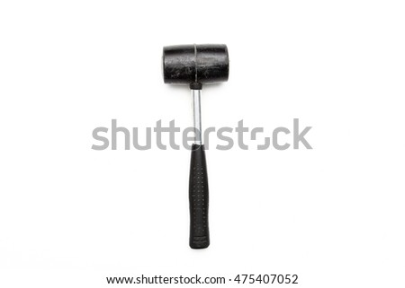 Rubber mallet on white background