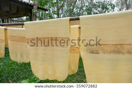 rubber production in a small factory in Thailand - stock photo