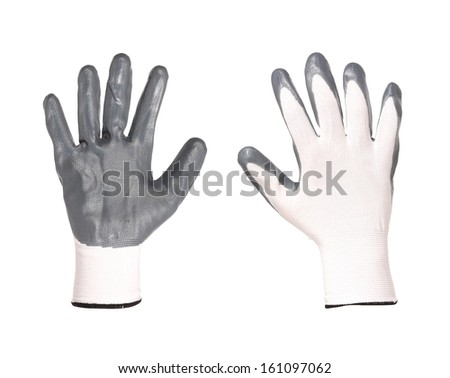 Rubber protective gray glove. Isolated on a white background.