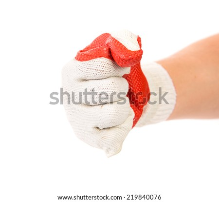 Rubber protective white glove. Isolated on a white background. - stock photo