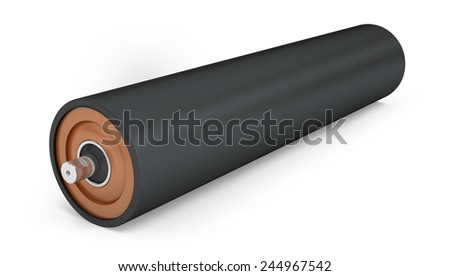 Rubber pulley for drum conveyor isolated on white background