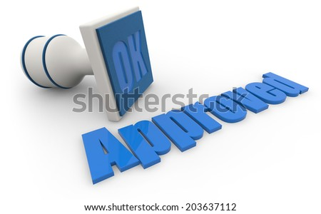 """rubber stamp and word """"approved"""" on white background - stock photo"""