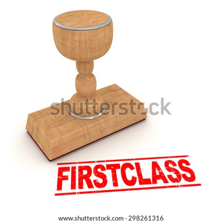 Rubber stamp - firstclass , This is a computer generated and 3d rendered picture.