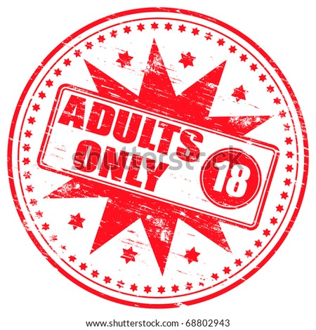 """Rubber stamp illustration showing """"ADULTS ONLY"""" text and 18 symbol - stock photo"""