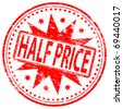 """Rubber stamp illustration showing """"HALF PRICE"""" text - stock photo"""