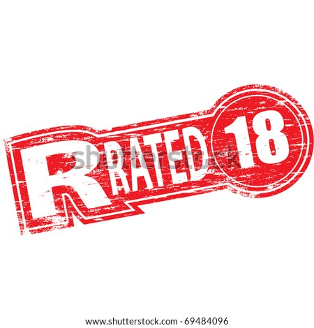 """Rubber stamp illustration showing """"R RATED"""" text and 18 symbol - stock photo"""