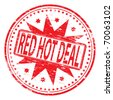 "Rubber stamp illustration showing ""RED HOT DEAL"" text - stock vector"