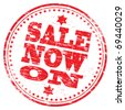 "Rubber stamp illustration showing ""SALE NOW ON"" text - stock vector"