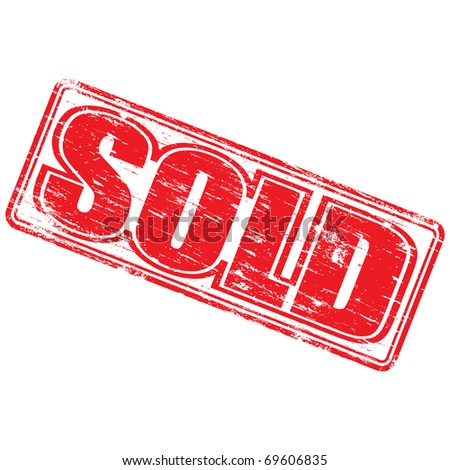 """Rubber stamp illustration showing """"SOLD"""" text - stock photo"""