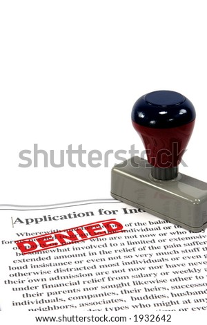 rubber stamp imprints denied on form on a white background - stock photo